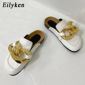 Eilyken Gold Chain Decor Round toe Flat Mules Lazy Loafers Shoes Women's Outdoor Cozy Soft Leather Casual Slippers Female Shoes #Cr3C