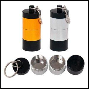 2 Colori portatili DAB cera tabacco contenitore 4 strati di medicina scatola di pillola in metallo custodie per vaso portaoggetti per barrette a secco vaporizzatore a base di erbe portachiavi