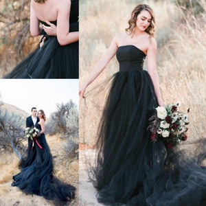 Gothic A Line Black Tulle Wedding Dresses 2021 Strapless Court Train Cheap Bridal Gowns Plus Size robe de mariee Black Marriage Gowns