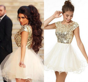 2021 New Short Prom Dresses A Line Tulle Sequined Cocktail Party Dresses Cheap Dresses For Women Mini Homecoming Gowns