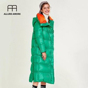 Allure Amore Kış Ceket Yeni Yüksek Kalite Kadınlar Uzun Aşağı Ceket Beyaz Ördek Aşağı Ceket Kapitone Kadın Hafif Kalın Giysiler1