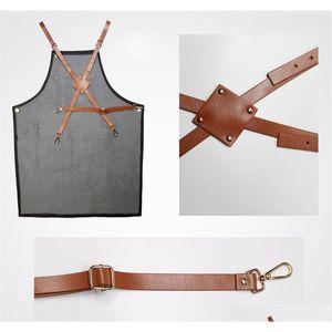 Aprons Denim Leather Simple Uniform Unisex Adult Jeans Aprons For Woman Men Male Lady Kitchen Barber jllHqq dhsybaby
