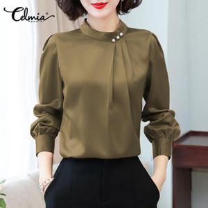 5xl celmia mulheres cetim blusa elegante carrinho colar de manga longa camisa de escritório 2021 outono casual seda top plus size plissado blusas