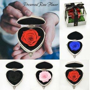 Korunmuş Taze Gül Ebedi Çiçek Mücevher Kutusu Yüzük Konteyner Düğün Valentine Hediyeleri Dropshipping için