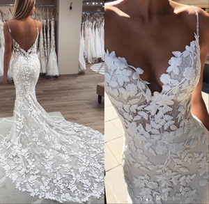 Beads Pearls Spaghetti Strap Lace Mermaid Wedding Dresses 2020 Gorgeous 3D-Floral Appliques Boho Bridal Gowns Low Back Robe De Mariee