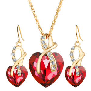 luxury Women Heart-shaped Zircon crystal earrings necklace jewelry set 10pcs Green Red White Blue