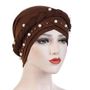 New Fashion Hat Women Solid Casual Plait India Hat Muslim Ruffle Cancer Chemo Hat Beanie Scarf Turban Head Wrap Cap