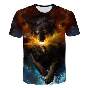Biaolun años adolescentes camiseta para niños o niñas Wolfs 3D impreso manga corta cuello redondo camiseta grandes niños Venta caliente Q1126