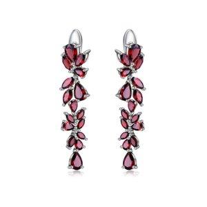 Sliver Sterling de Ballet 925 de Gem laisse une goutte élégante pour les femmes engagement 20.35ct Boucles d'oreilles grenates rouges naturelles bijoux Q1218