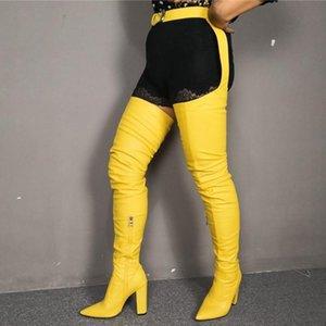 Siyam Bel Uzun Kadın Uyluk Yüksek Çizmeler Tıknaz Topuk Özelleştirilmiş Büyük Boy 47 Sevimli Sarı Kış Aşın Yüksek Çizmeler