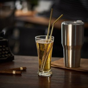 High Quality 304 Gold Stainless Steel Straw Reusable Drinking Straw Metal Bent Straight Straw Cleaner Brush