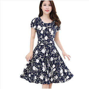 2020 Vintage Dress Dresses Women Elegant Fashion O Neck Knee Black Dress Length Short Sleeve Retro Printing