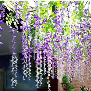 12pcs Lot Wedding Decoration Artificial Silk Wisteria Flower Plant Vines Hanging Rattan Fake Bride Flowers Garland For Home Room