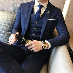 Men Wedding Formal Wear Suits & Blazer Good Quality Clothing Suits New Male Formal Dress Blazer Jackets+Pants+Vest