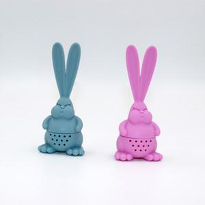 Мультфильм злой кролика чай инфузерный пищевой силиконовый кролик чай ситечко большой ушной кролик чайник GH1092