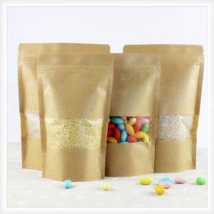 100 шт. Коричневый крафт бумажный пакет подарочные пакеты упаковки печенье конфеты конфеты пищевые хлеба печенье хлеб гайки закуски для выпечки на молнии замок 201015
