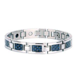 Titanium Steel Carbon Fiber Four-in-One Magnet Bracelet Stainless Steel Bracelet Factory Jewelry Wholesale Jewelry