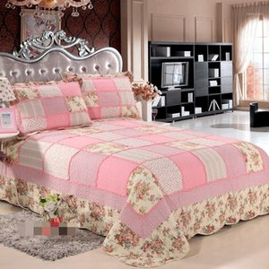Bedding Sets Pure Cotton 3pcs Thicken Pink Floral Patchwork Quilt Colcha Full queen Size Aircondition Bed Cover bedspread AN1