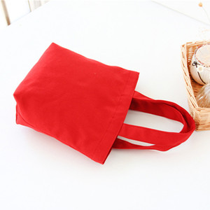 Colorful cotton canvas Food bag Lunch Reusable Tote pouch Cosmetic Bag Wedding gift bag Factory wholesale PPD3274