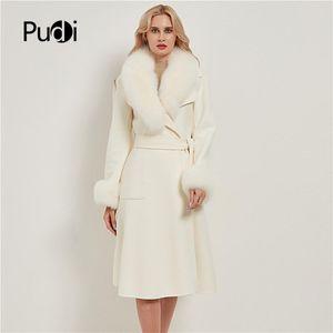 Pudi Mujeres Real Piel Abrigo Chaqueta Femenino Lady Wool Mezcla Chaquetas Abrigos Larga Tronco Con Cuello Puño CT032