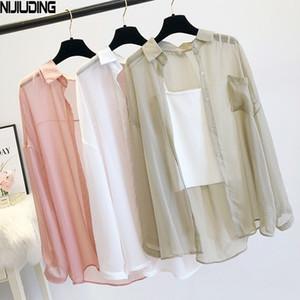 Nijiuding Mujeres delgada abrigo casual verano protección sol ropa mujer camisa camisa ropa tops blusa de mujer cubierta blusa B1204