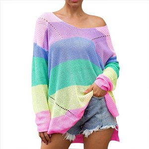 Womens Sweater Oversize Rainbow Casual Plus Size Multicolor Knitted Sweater Autumn Winter Pullover Striped Female Jumper l35