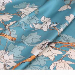108CM Wide 19MM 93% Silk & 7% Spandex White Orchard Print Blue Stretch Silk Satin Fabric for Dress Cheongsam Shirt Jacket B191