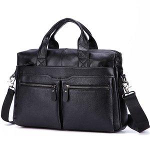 "Black Men Genuine Handbags Large Leather 14"" Laptop Messenger Business Men's Travel Shoulder Bags Briefcase Q1129"