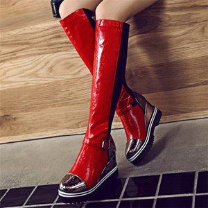 Plataforma de cuña Mujeres Botas altas Rodilla High Boots Girls Slip on Moda Altura Heel Cuña Bota Rojo Negro Zapatos Casuales Mujer Zogeer Y200723