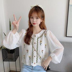 blusa feminina chemisiers et blouses femme chiffon Cardigan shirts spring fall long sleeve women short top vetement femme floral