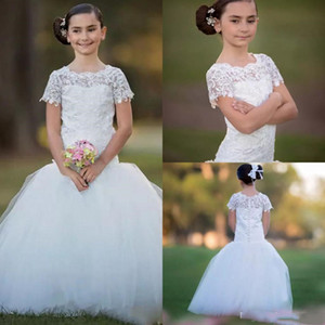 Ivory Mermaid Kids Wedding Dresses with Lace Short Sleeves Children Gown for Communication Weddings Long Flower Girl Dress
