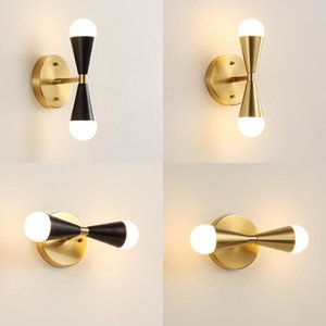Nordic Retro Loft Copper Bedroom Bedside Wall Lamp Creative Minimalist Brass Living room Kitchen Bathroom Mirror Wall Lighting