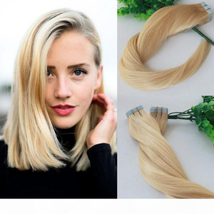 100g Tape In Human Hair Extensions Blonde 613 Bleached Blonde Remy Tape Hair Extensions Skin Weft PU