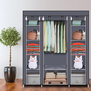 Assemblato 5 strati 12 scomparto wardrobe non tessuto home camera da letto guardaroba cremagliera grigia