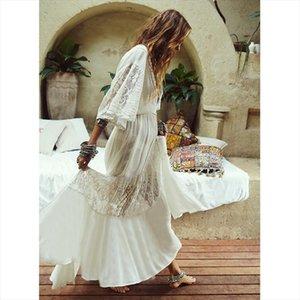 2020 Summer Boho Women Maxi Dress Half Sleeve Transparent Loose Sexy White Lace Long Tunic Beach Dress