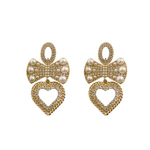 925 silver needle European and American fashion exaggeration with diamond bow Love Earrings retro style earrings