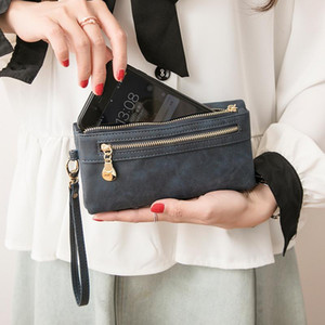 Retro PU Leather Long Wallet Handbag For Women Korean Multi-Function Zipper Solid Color Fashion Card Bags Ladies Clutch Purse