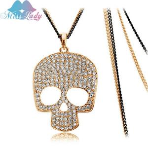 Anhänger Halsketten Miss Lady Rose Gold Farbe Strass Kristall Lange Schädel Anhänger Großhandel Modeschmuck Für Frauen Mly4492