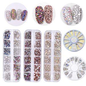Colorful Crystal Nail Art Rhinestones Acrylic Nail Stones Beads Studs Flat Back Shiny Tips 3D Nails Art Decorations Sequins