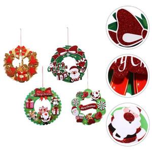 5Pcs Creative Sticker Christmas Wreath Shopwindow Decals for Decor Mall Home