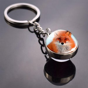 Cute Animal Key Chain Dog Fox Double Side Glass Ball Key Chain Portable Key Ring Pendant Keyring Jewelry Accessories jllxmS