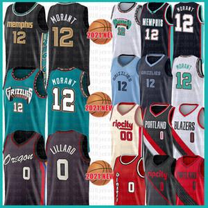 남성 청소년 어린이 JA 12 Morant Damian 0 Lillard Basketball Jersey Carmelo 00 Anthony 2021 New Black Jerseys Mesh Retro