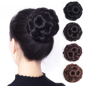 6 Colors Synthetic Hair Clip In Braided Chignon Knitted Hair Bun Donut Roller Hairpieces Hair Accessories for Women