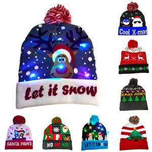 DHL Shipping LED Christmas Hats Pompom Knitted Cap Adult Cute Cartoon Santa Claus Xmas Tree Elk Print Hat Winter Beanie Cap Kimter-X875FZ