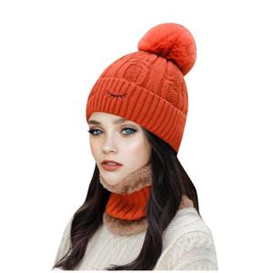 Beanie / Kafatası Kapaklar Moda Kadınlar Kış Örgü Şapka Topu Yaka Seti Kalın Sıcak Katı Earmuff Boyun Isıtıcı Bayanlar Kızlar için 2021