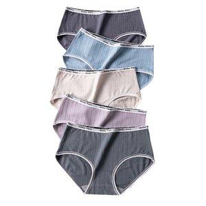 LANGSHA 5Pcs set Panties Women Soft Cotton Cute Letter Female Briefs for Girls Lingerie Seamless Comfort Ladies Underwear M XL Y1121
