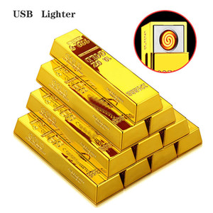 Metal Gold Lighter Creative USB Rechargeable Electronic Cigarette Lighter Portable Mini Gold Bar Lighter Free Shipping