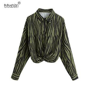 BBWM Женщины 2020 Мода Шикан Узел Животных Печать Подвесные Блузки Урожай Урожай с длинным рукавом Рубашки Faldas Mujer