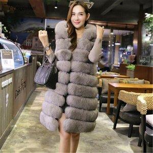 new ladies high-quality ladies imitation fur vest mid-length thick hooded coat vest shoulder fur coat Fashion