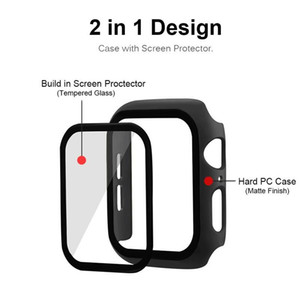 iWatch PC Hard Case With Tempered Glass 38mm 42 mm 40mm 44mm For Apple Watch 6 5 4 3 2 1 Cover 360 Full Screen Protector